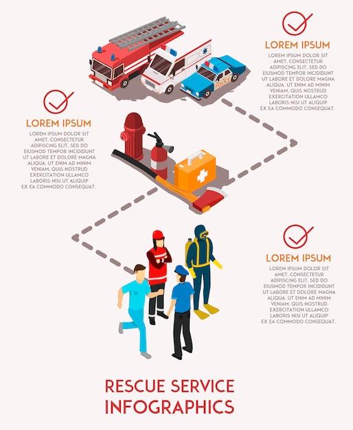 Rescue service infograhics Free Vector