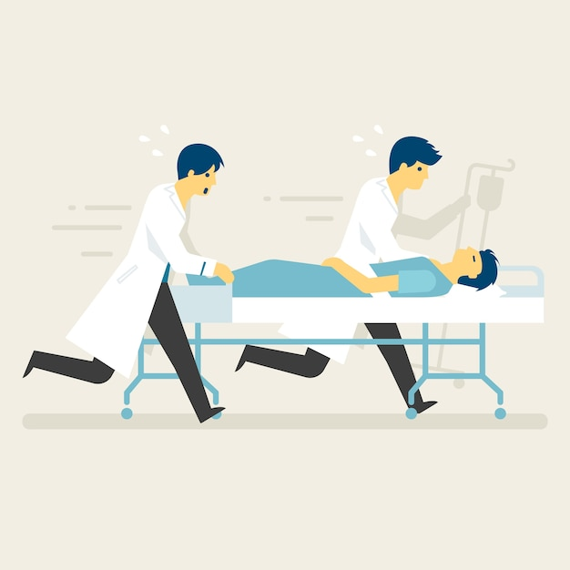 Rescue staff with emergency case running to icu. Premium Vector