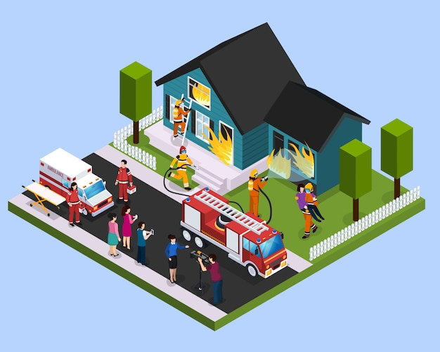 Rescue team isometric composition Free Vector
