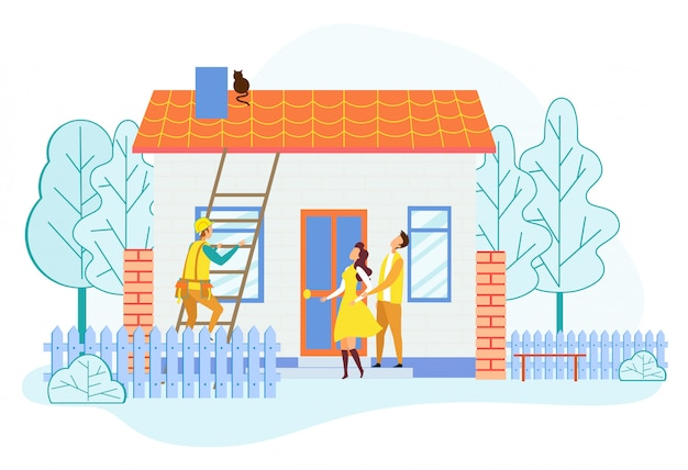 Rescuer climbing by ladder on house roof save cat Premium Vector