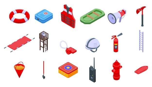 Rescuer icons set. isometric set of rescuer vector icons for web design isolated on white space Premium Vector