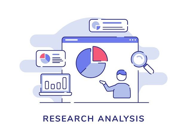 Research analysis concept man presentation data statistic pie chart on display computer screen with flat outline style Premium Vector