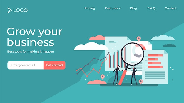 Research business project, flat tiny persons vector illustration landing page template design Premium Vector