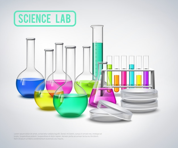 Research equipment liquids composition Free Vector
