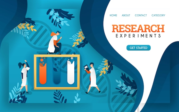 Research experiment. health banner. young scientists examined fluids in tubes. Premium Vector