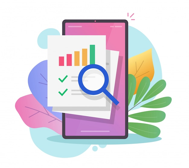 Research finance sales data audit on mobile phone report online or statistics info analysis on smartphone Premium Vector