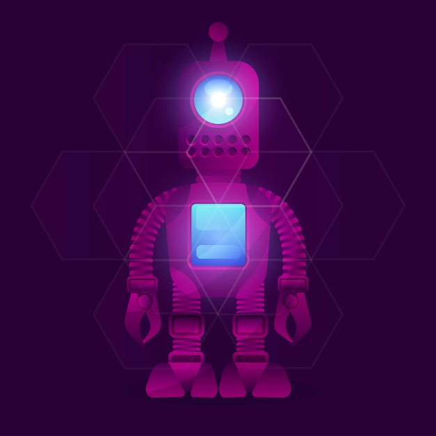 Research robot science and technology background. Premium Vector