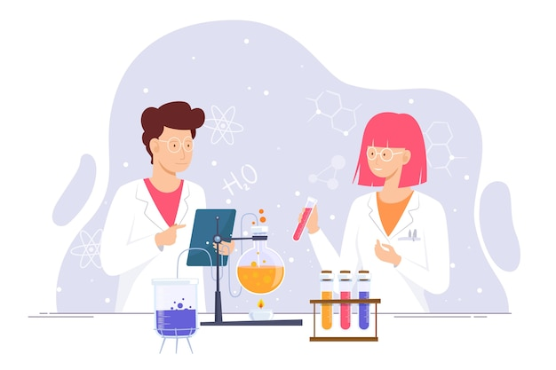 Researchers working in science lab together Free Vector