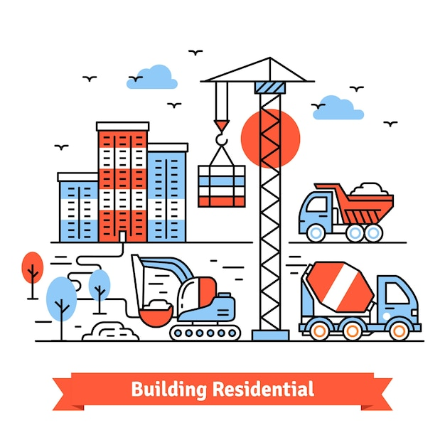 Residential building site Free Vector