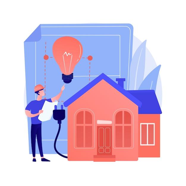Абстрактное понятие жилого электрического строительства Бесплатные векторы