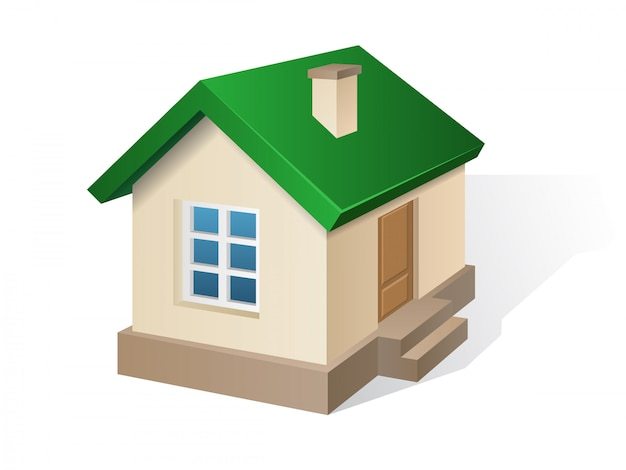 Residential house beige with a green roof. Premium Vector