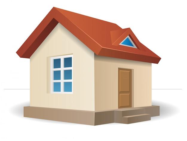 Residential house beige Premium Vector