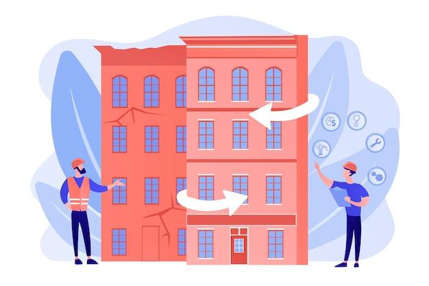 住宅の再建、都市の改修 無料ベクター