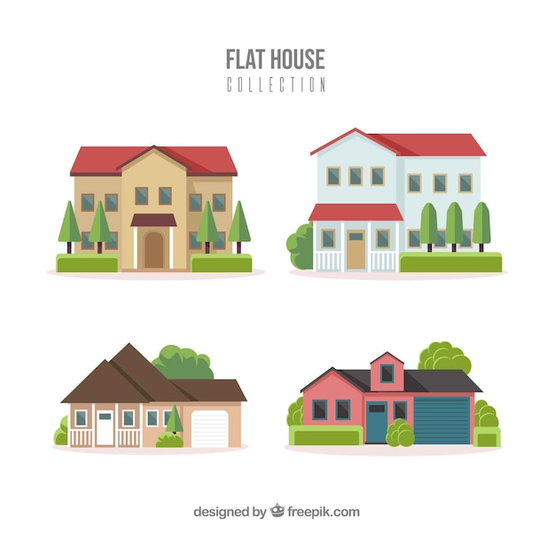 Residential houses collection in flat style Free Vector