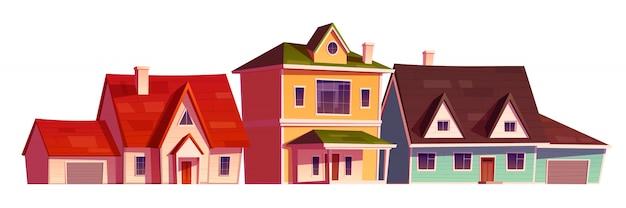 郊外地区の住宅の外観 無料ベクター