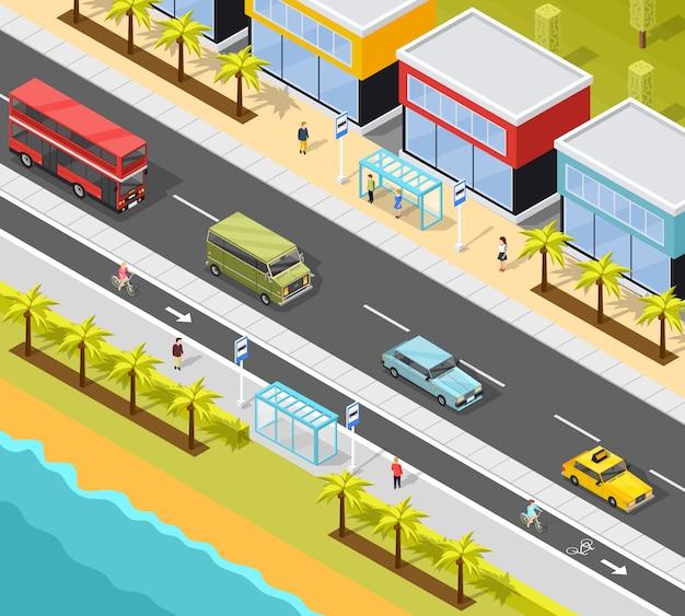 Resort city transport background Free Vector