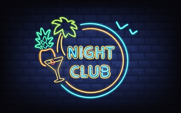 Resort night club, beach cocktail bar retro signboard with palm tree, coconut Free Vector