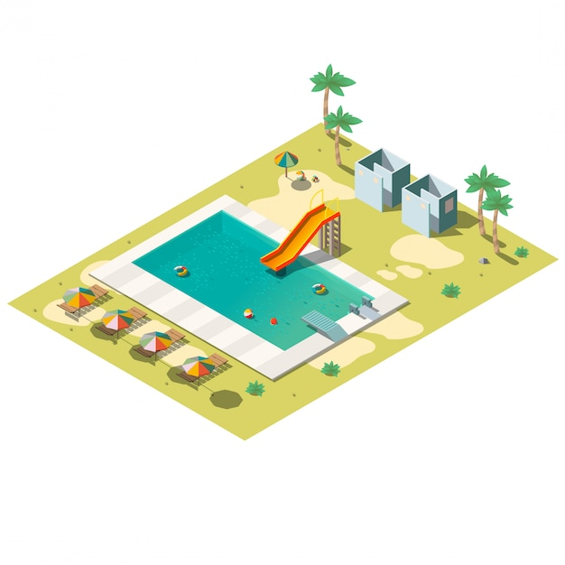 Resort swimming pool isometric  illustration Free Vector