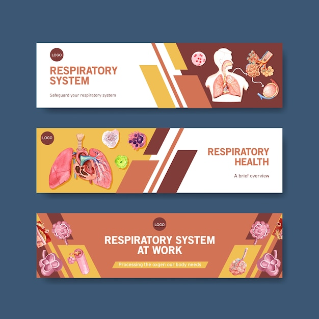 Respiratory banner design with human anatomy of lung Free Vector