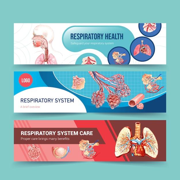 肺の人体解剖学による呼吸バナーデザイン 無料ベクター