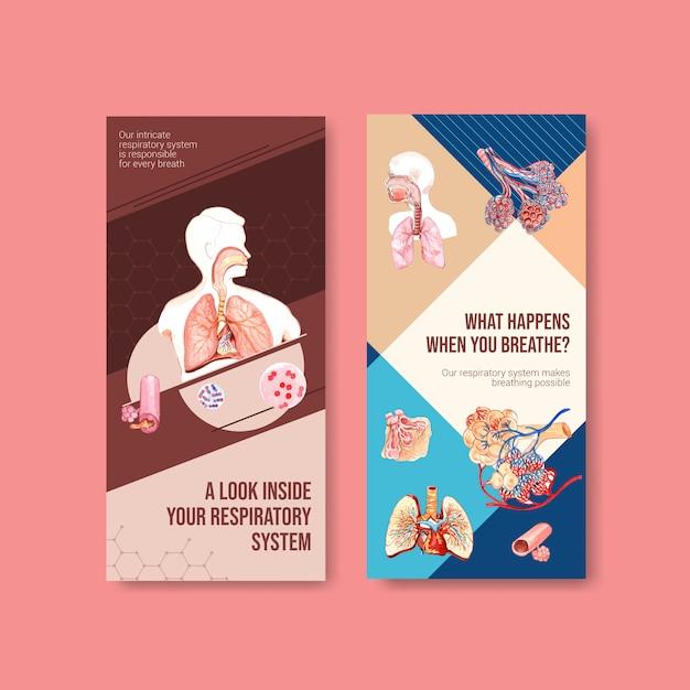 肺の人体解剖学と健康管理を備えた呼吸チラシのデザイン 無料ベクター