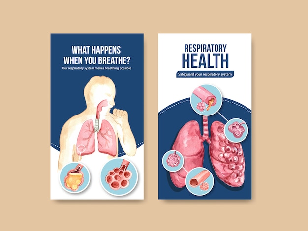 Respiratory instagram template design with human anatomy of lung and healthy care Free Vector