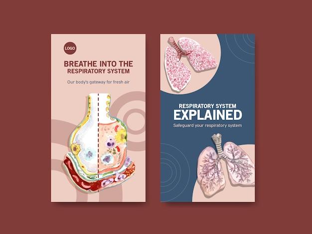 肺の人体解剖学と健康管理を備えた呼吸instagramテンプレートデザイン 無料ベクター