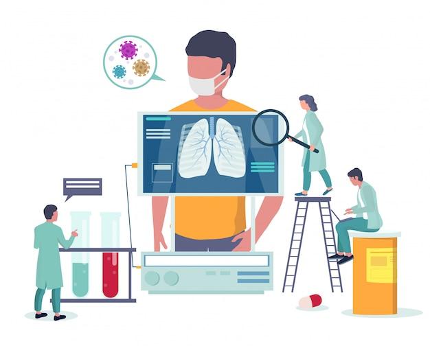 Медицинский осмотр при заболеваниях дыхательных путей. вирусная эпидемия, профилактика и осведомленность о коронавирусной болезни. корона вирус медицинский баннер шаблон. рентгенография легких. Premium векторы