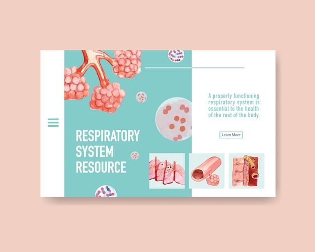 肺の人体解剖学を使用したウェブサイトテンプレートの呼吸システムの設計 無料ベクター