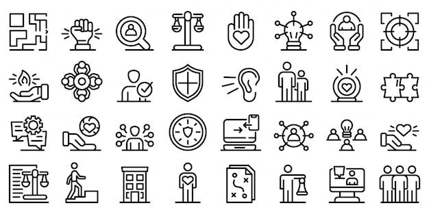 Набор иконок ответственности, стиль контура Premium векторы