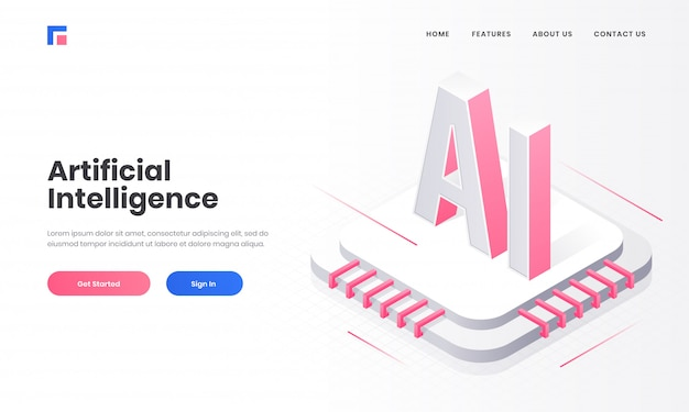 Responsive landing page design with 3d ai chip and digital circuit for artificial intelligence (ai) concept. Premium Vector