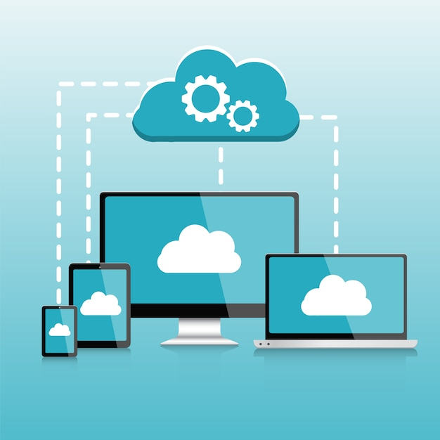 Responsive pc. computer. mobile devices infographics, cloud computing elements vector illustration Premium Vector