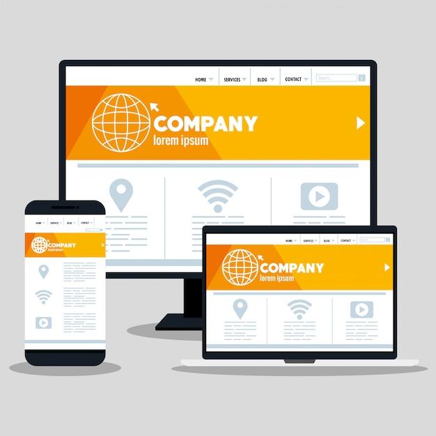 반응 형 웹, 데스크톱 컴퓨터, 스마트 폰 및 노트북의 개념 웹 사이트 개발 프리미엄 벡터