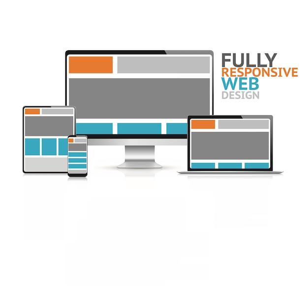 Responsive web design concept in electronic devices vector illustration Premium Vector