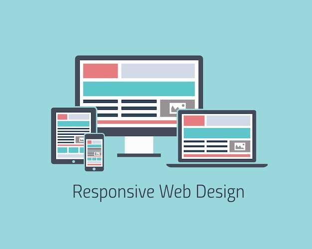 Responsive web design development vector flat style Premium Vector