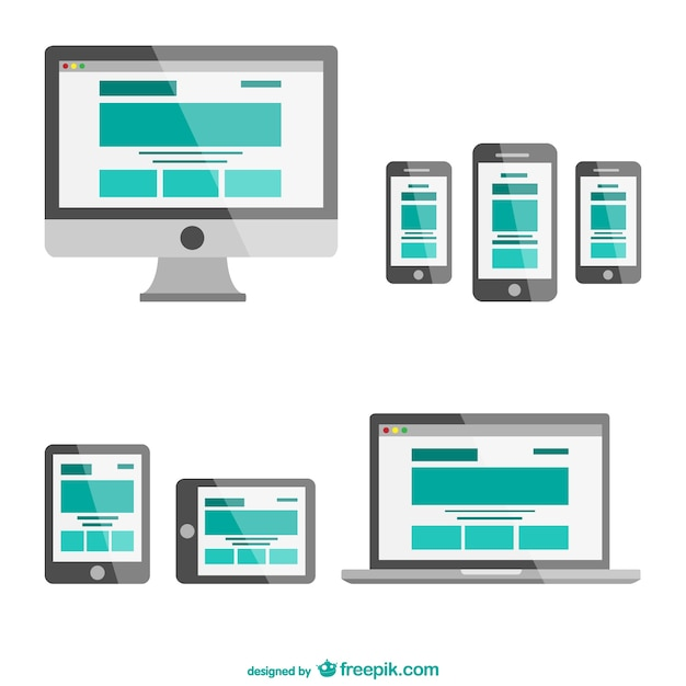 Flat Responsive Site Design Vector: Responsive Web Design In Different Electronic Devices