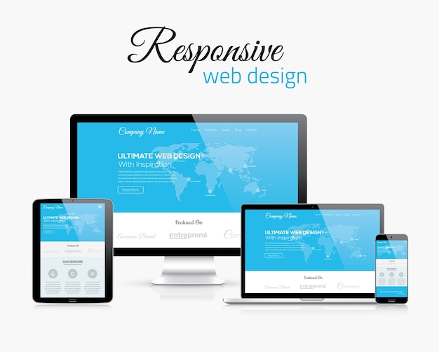 Responsive web design in modern flat vector style concept image Premium Vector