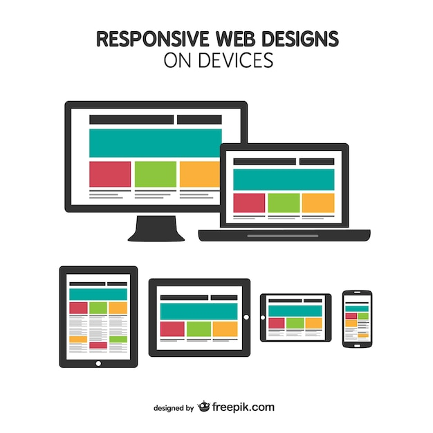 Flat Responsive Site Design Vector: Responsive Web Design On Devices Vector