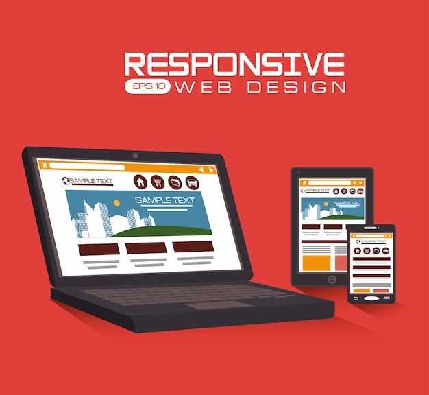 Responsive web design, vector illustration. Premium Vector