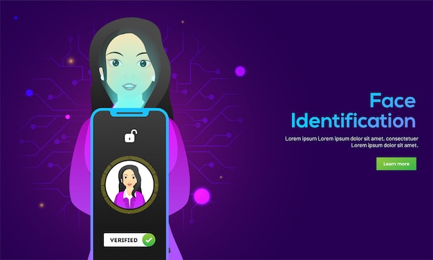 Responsive webpage banner design with illustration of woman Premium Vector