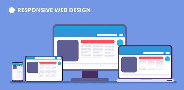 Responsive website. webpage on different devices. tablet and phone, laptop and computer display with web design. vector illustration Premium Vector