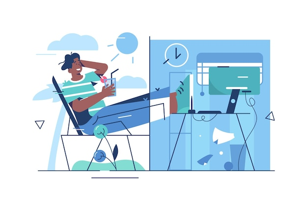 Баланс отдыха и работы. фрилансер человек работает онлайн плоский стиль. удаленная работа и концепция фриланса. Premium векторы