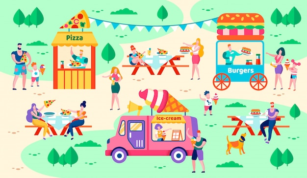 Rest and food in city park vector illustration. Premium Vector
