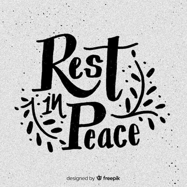 Riposa in lettere di pace Vettore gratuito