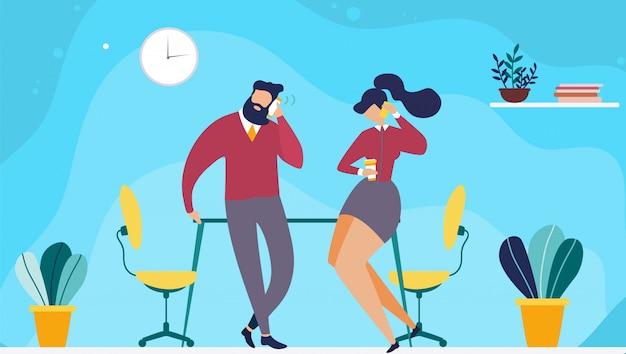 사무실 평면 만화에서 휴식 시간 또는 커피 브레이크. 벡터 남자와 여자 무료 벡터