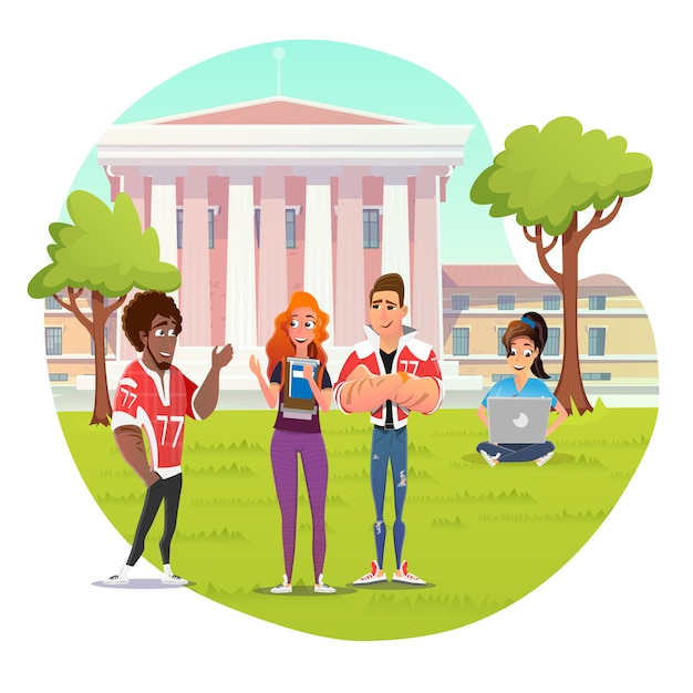 Rest time in university campus for students vector Premium Vector