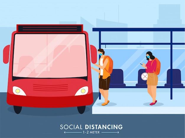 Перезапустите концепцию перемещения / транспортировки после пандемии с сообщением «сохранить социальное расстояние». Premium векторы