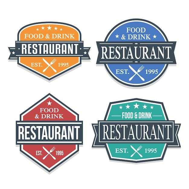 Restaurant banner logo label collection Premium Vector