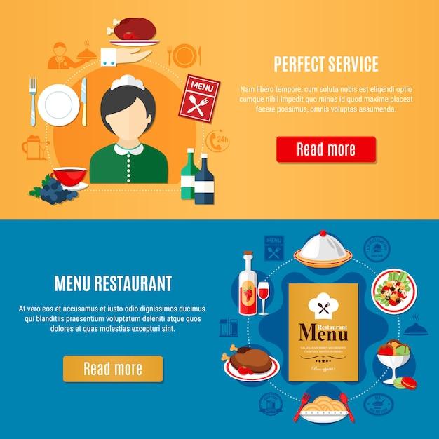 Набор баннеров для ресторанов Бесплатные векторы