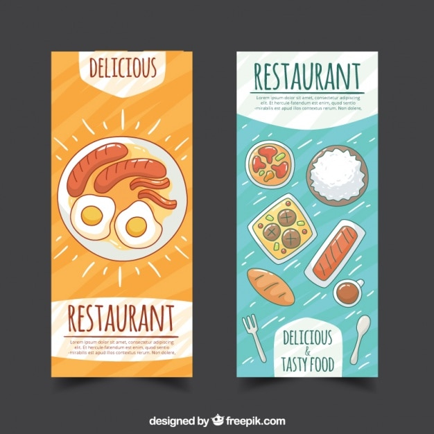 Restaurant banners with hand drawn food